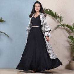 Black Crop Top Skirt Set with Tiered Bell Sleeves Shrug