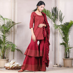 Maroon Bindi Kurta Ruffle Pant Set with Dupatta