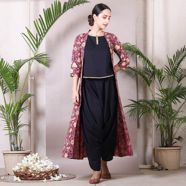 Black Dhoti Top Set with Detachable Maroon Floral Shrug
