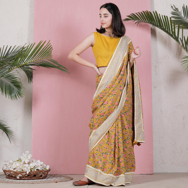 Yellow Floral Jaal Cotton Saree with White Border Details
