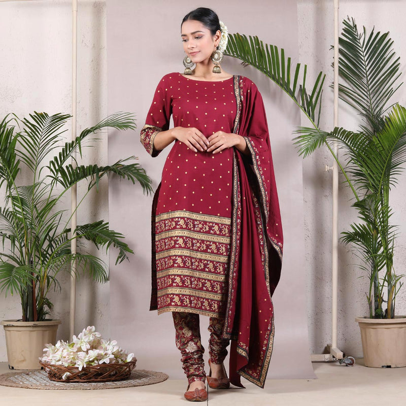 Maroon Gold Printed Kurta & Churidar with Maroon Printed Dupatta