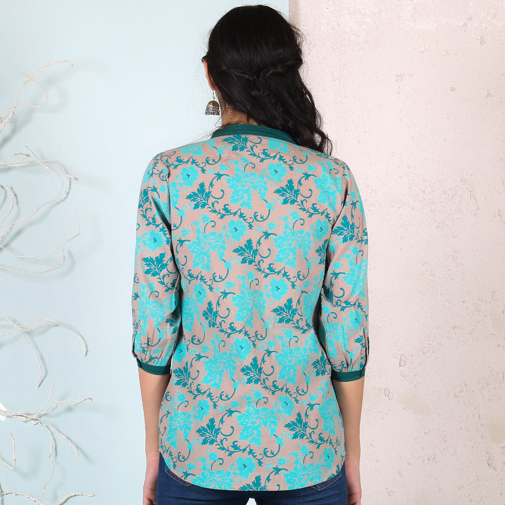 Teal Blue Floral Printed Cotton Shirt