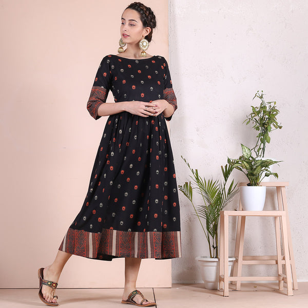 Black Sanganer Inspired Cotton Gather Dress with Heavy Border Details