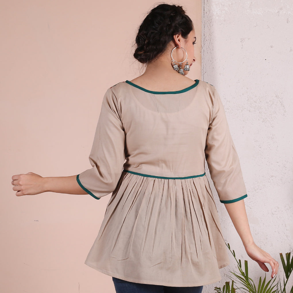 Beige Waist Gather Top with Teal Detail