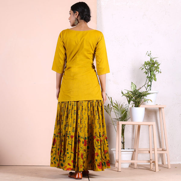Yellow Floral Tier Skirt & Tunic