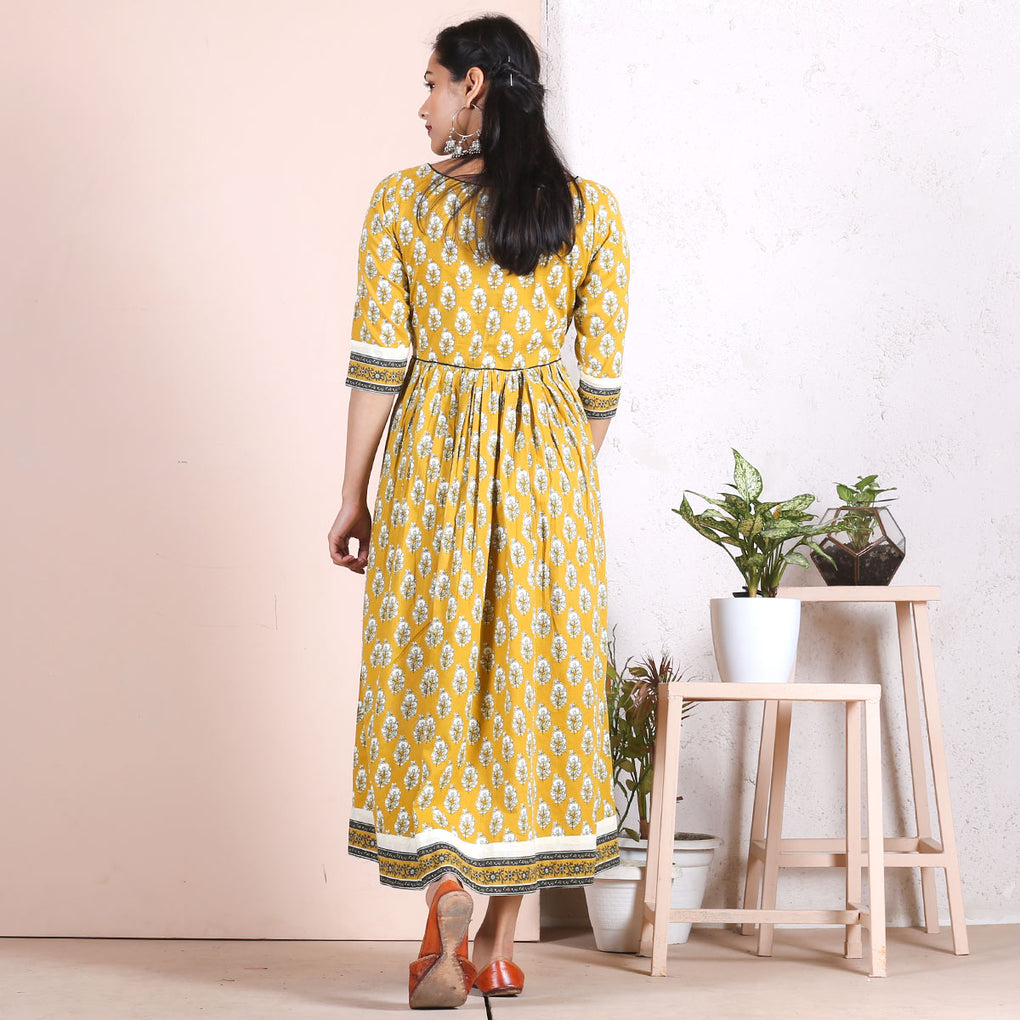 Yellow Sanganeri Gathered Dress with Border Detail