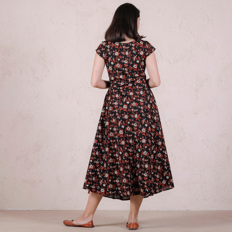Black Floral Printed Flared Dress