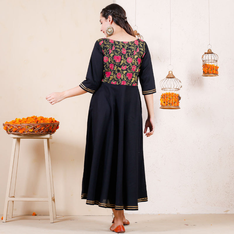 Dark Floral Festive Flared Cotton Dress with Gota Details