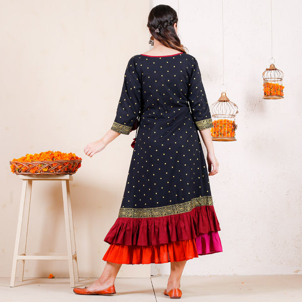 Black Atrangi Polka Printed Double Frill Dress with Tassels