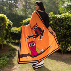 Orange & White Owl Embroidered Saree