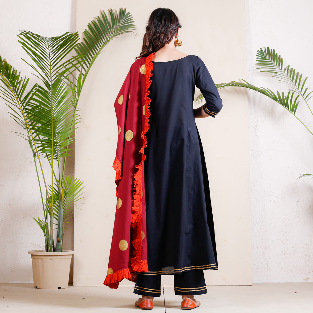 Black Bubble Flared Full Kurta Set with Frilled Dupatta