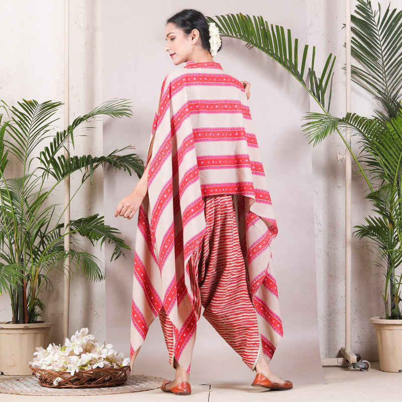 Beige & Magenta Dhoti Cape Set with Tassel Details