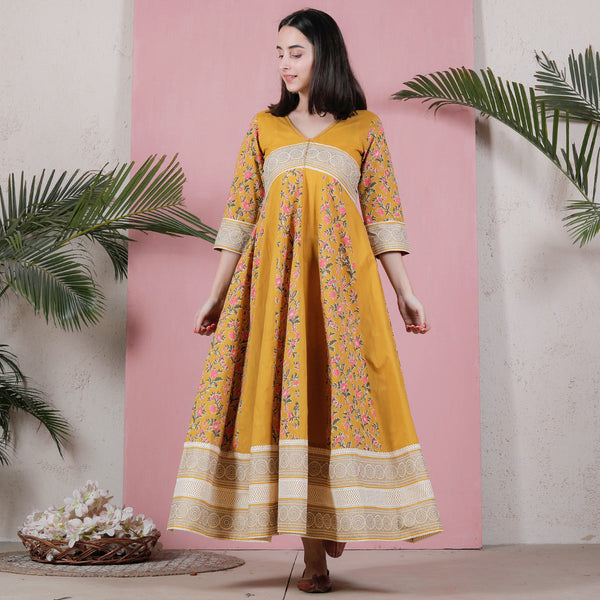 Yellow Long Kalidaar Dress with Border Details