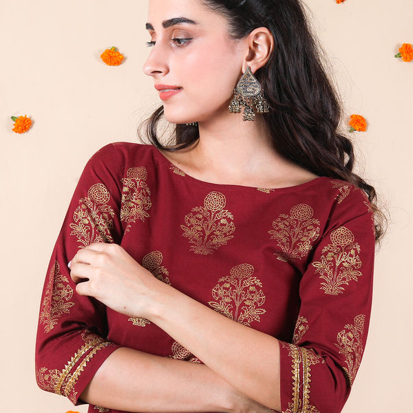 Maroon Festive Floral Kurta Set with Frilled Pants & Gota Work