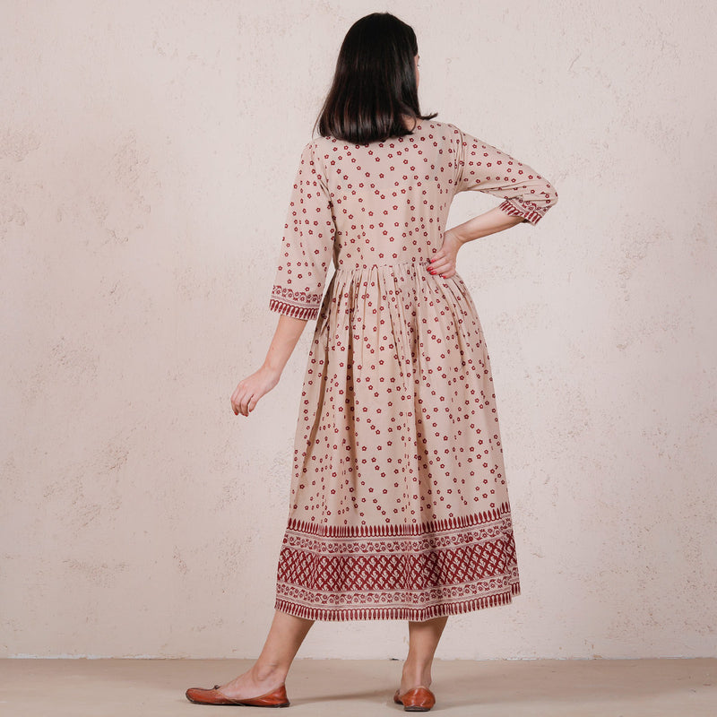 Beige Chintz Floral Printed Gathered Dress