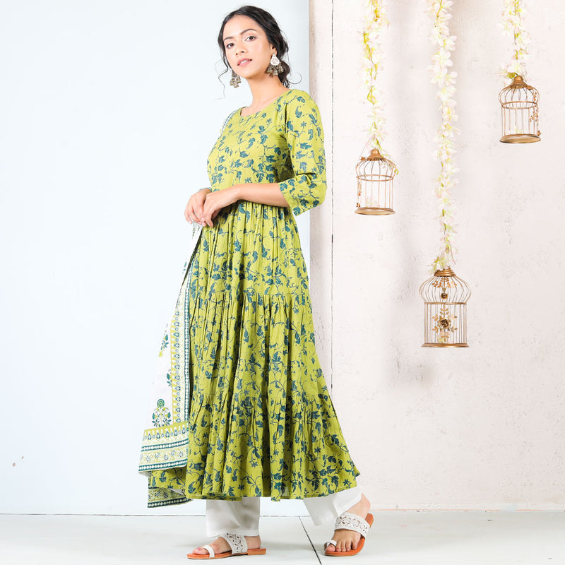 Olive & White Floral Tiered Cotton Full Kurta Set