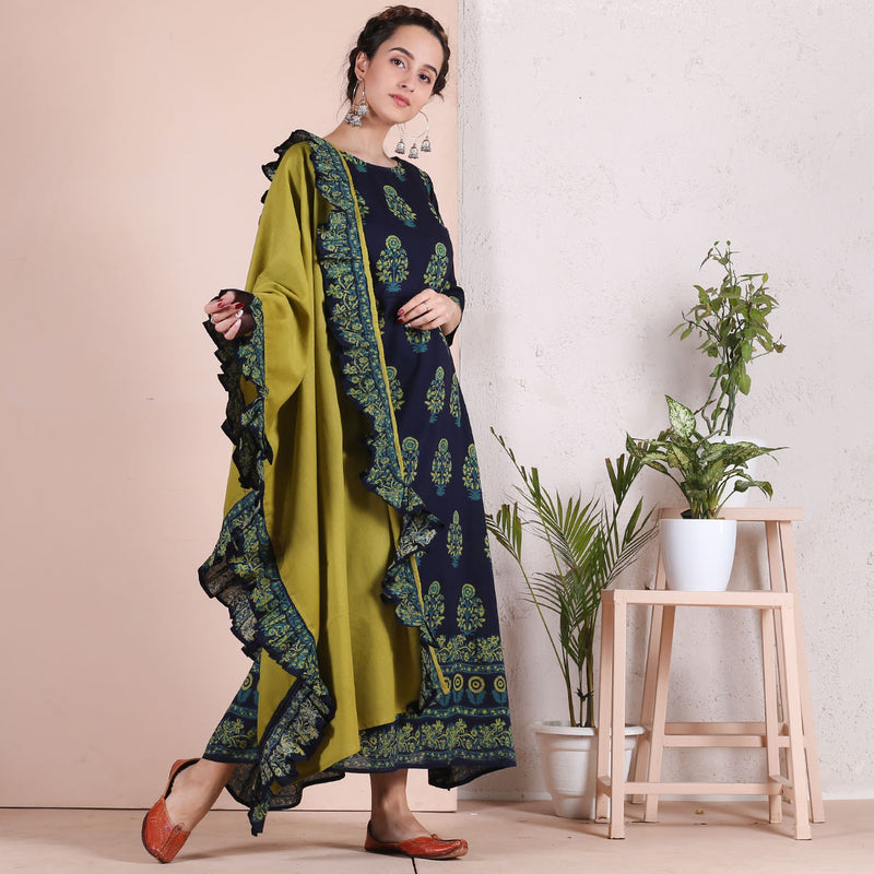 Blue Printed Long Kurti with Olive Dupatta