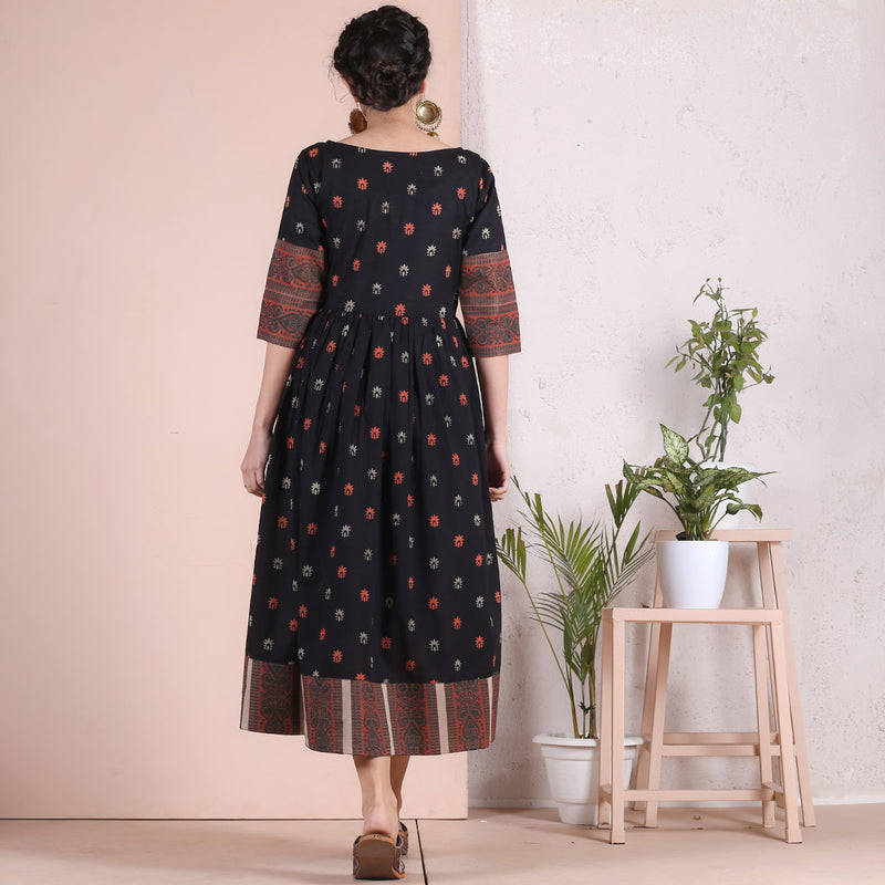 Black Sanganer Inspired Gather Dress with Heavy Border Details
