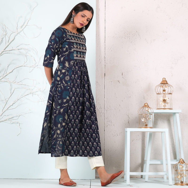 Blue & Teal Front Gathered Kurta