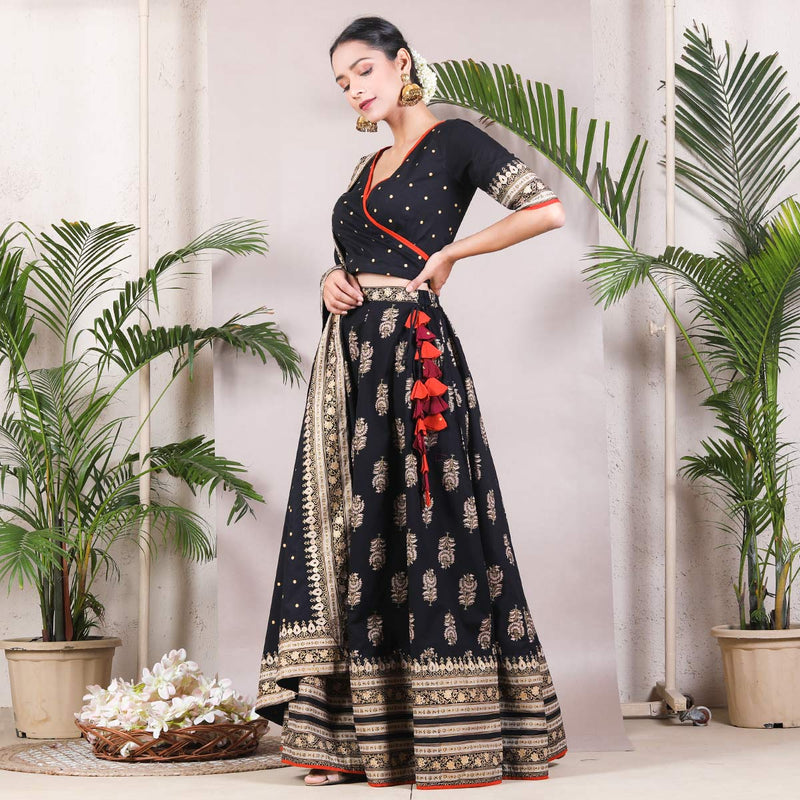 Black Buta Printed Lehenga Set with Dupatta & Tassel Details