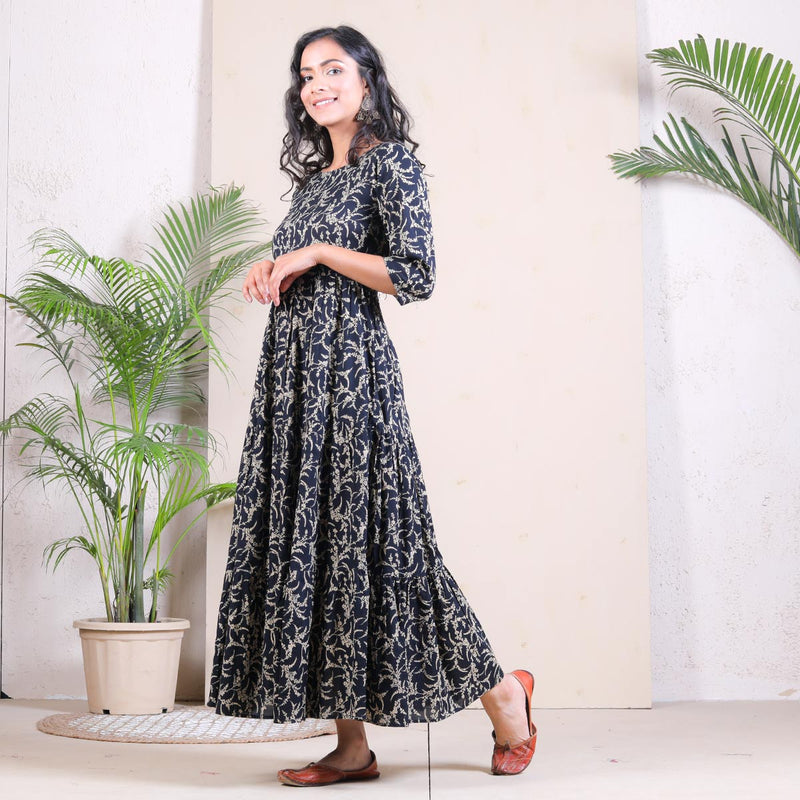 Black Floral Printed Tiered Cotton Dress