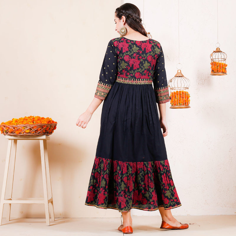 Black Floral Festive Tiered Cotton Dress with Yoke Details