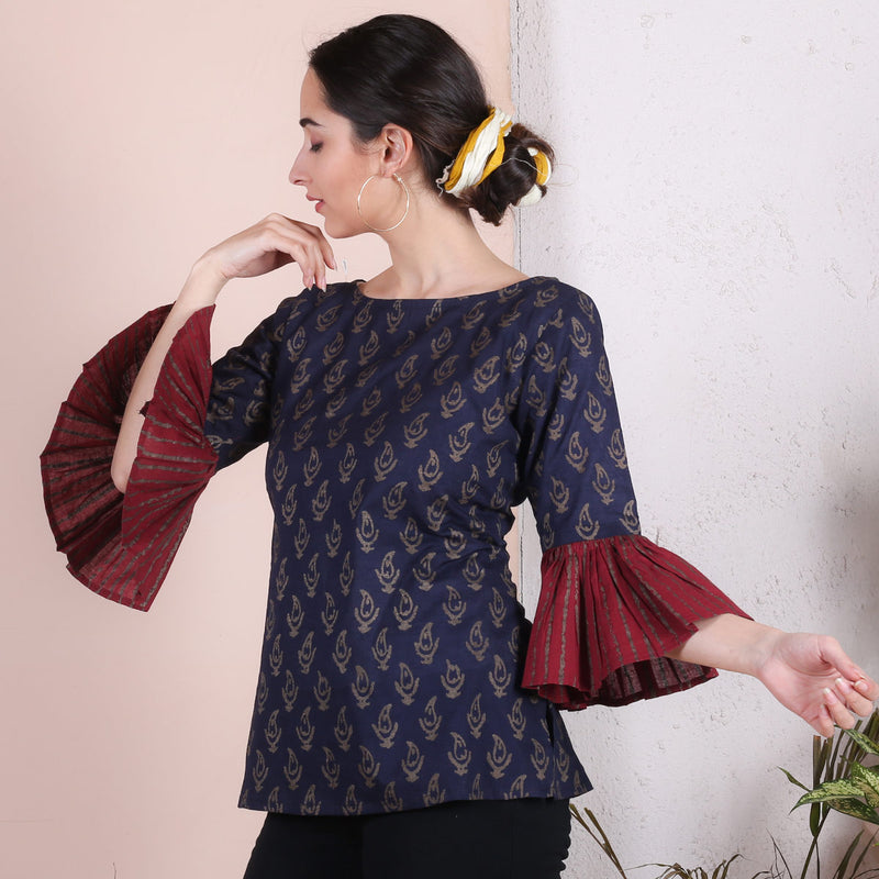 Blue Gold Printed Paisley Top with Maroon Frill Sleeve