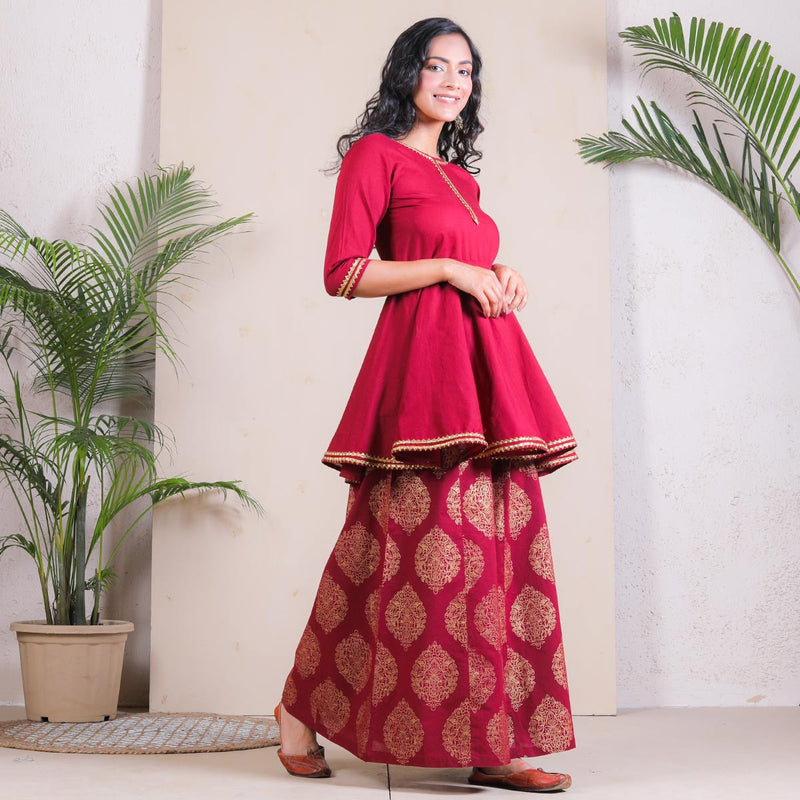 Maroon Buta Printed Peplum Sharara Set with Gota Details