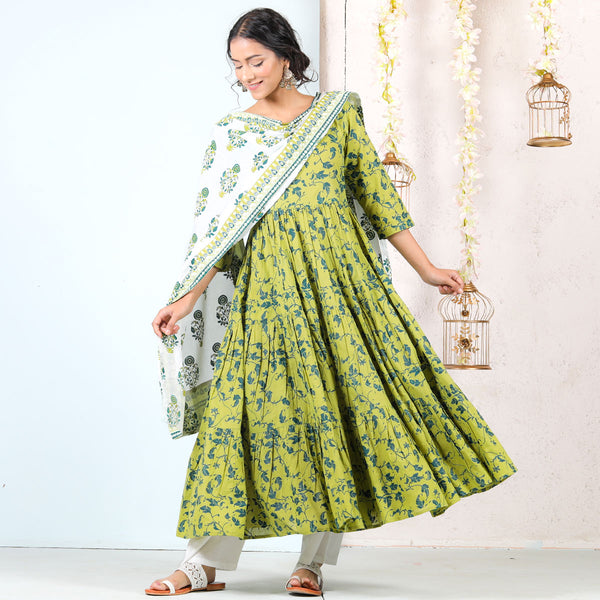 Olive & White Floral Tiered Full Kurta Set