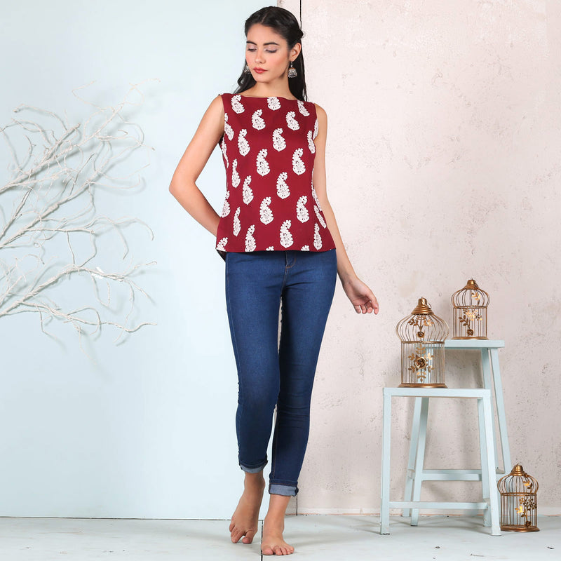Maroon & White Paisley Sleeveless Cotton Top