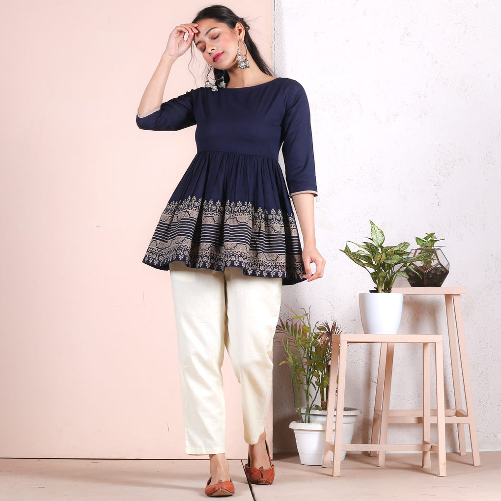 Indigo Traditional Gather Top with Border Detail