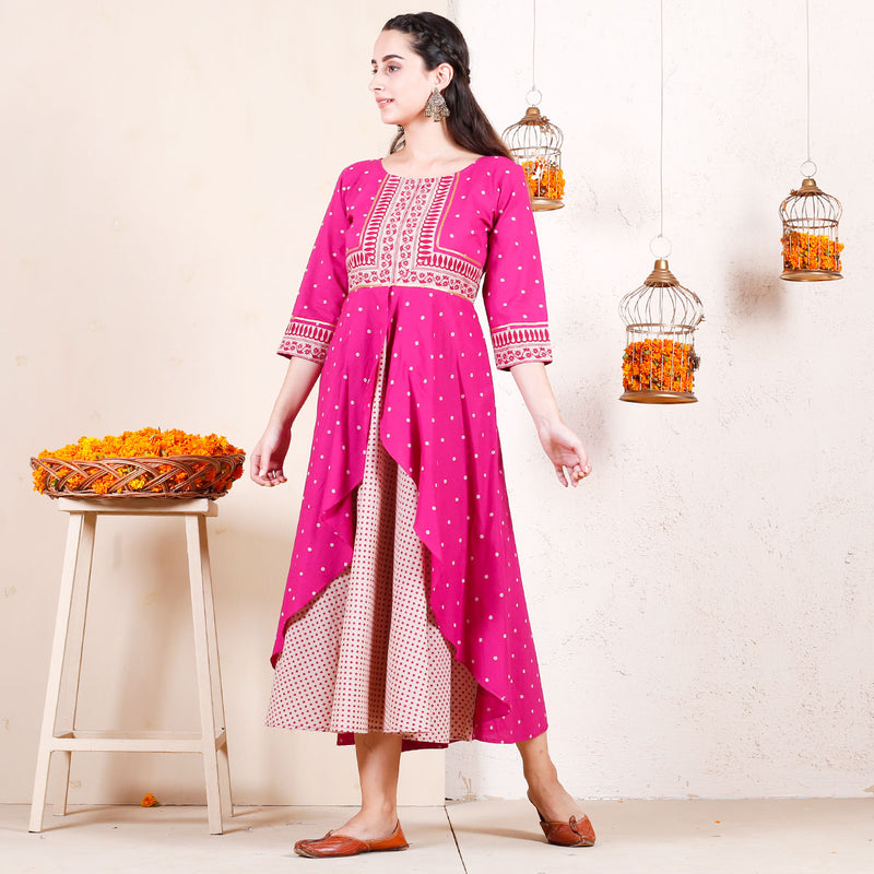 Magenta Festive Layered Dress with Gota Details