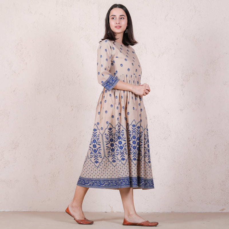 Beige Mughal Floral Gathered Dress