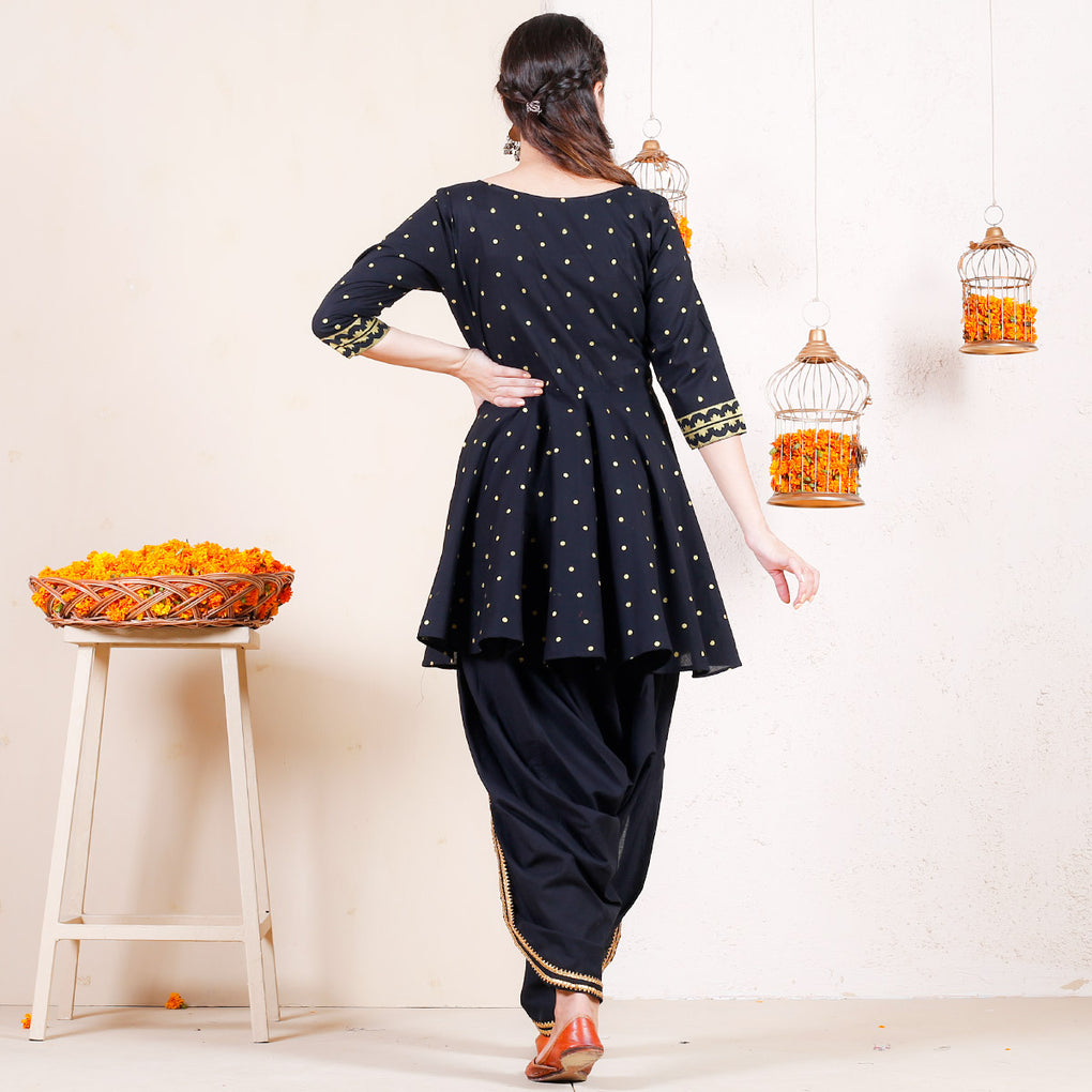Black with Gold Festive Printed Dhoti Peplum Top Set