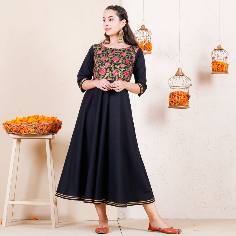 Dark Floral Festive Flared Dress with Gota Details