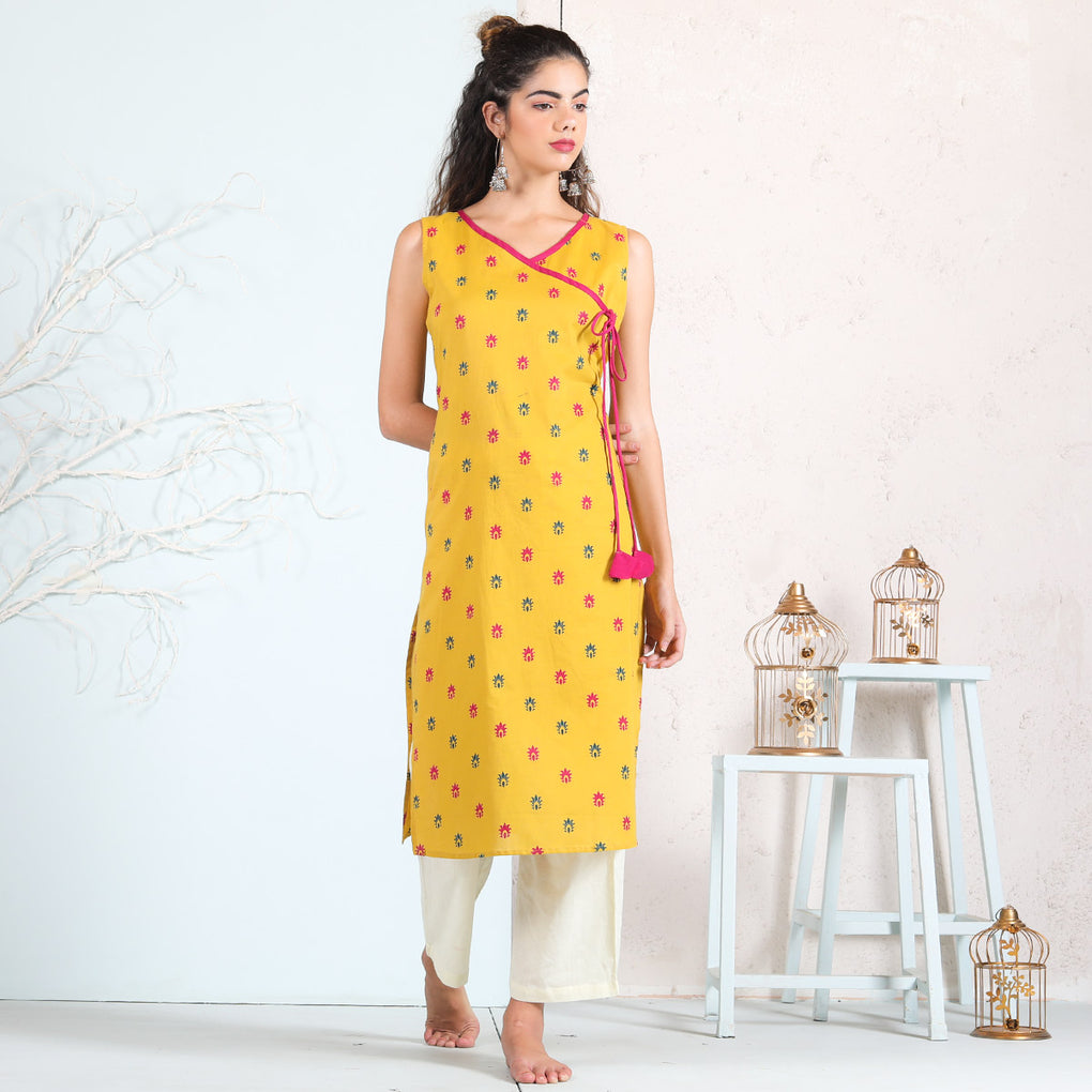 Yellow Cotton Angrakha Kurta with Dori Details