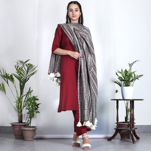 Maroon Salwar Kurta Set with Grey Dupatta