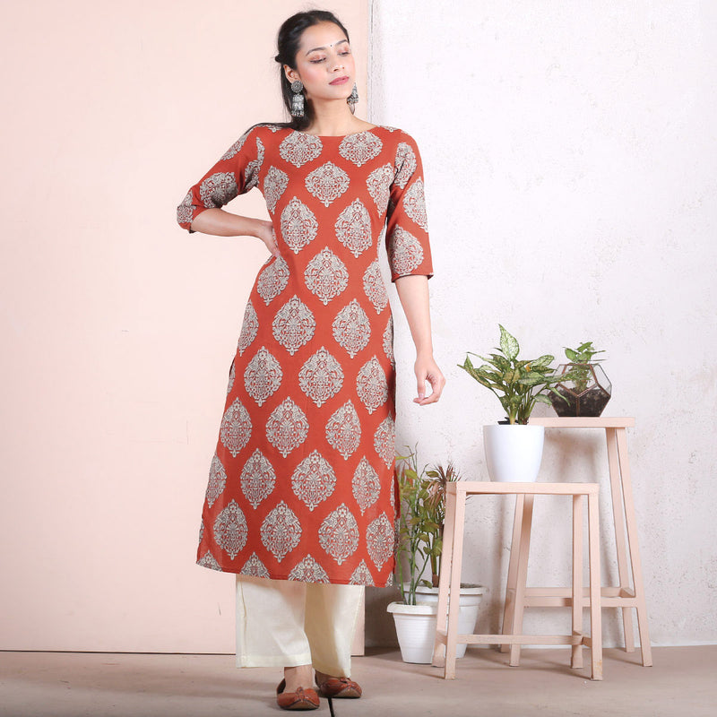 Rustorange & Beige Traditional Straight Kurta