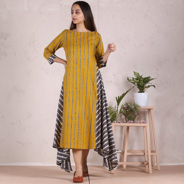 Mustard & Grey Asymmetric High Low Crooked Stripes Printed Kurta Dress