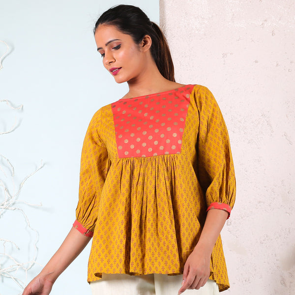 Yellow Front Gathered Top with Yoke Details