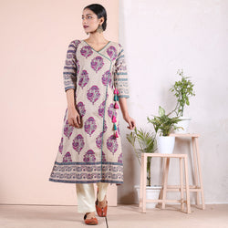 Beige with Pink & Teal Floral Boota Angrakha Kurta