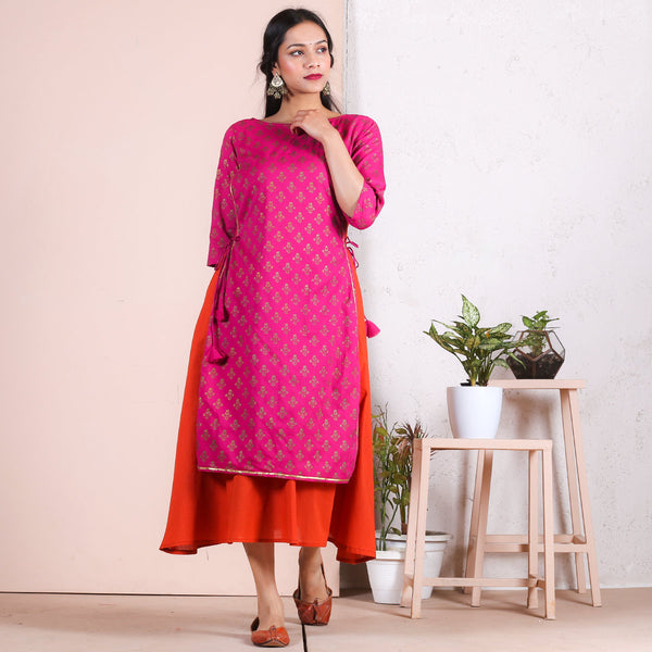 Rust & Magenta Gold Printed A-Line Layered Kurta with Gota Details