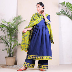 Blue & Olive Floral Gathered Kurta Salwar & Dupatta with Tassels