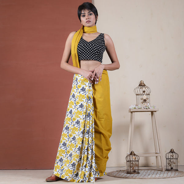 Yellow & White Sunflower Jaal Half & Half Saree
