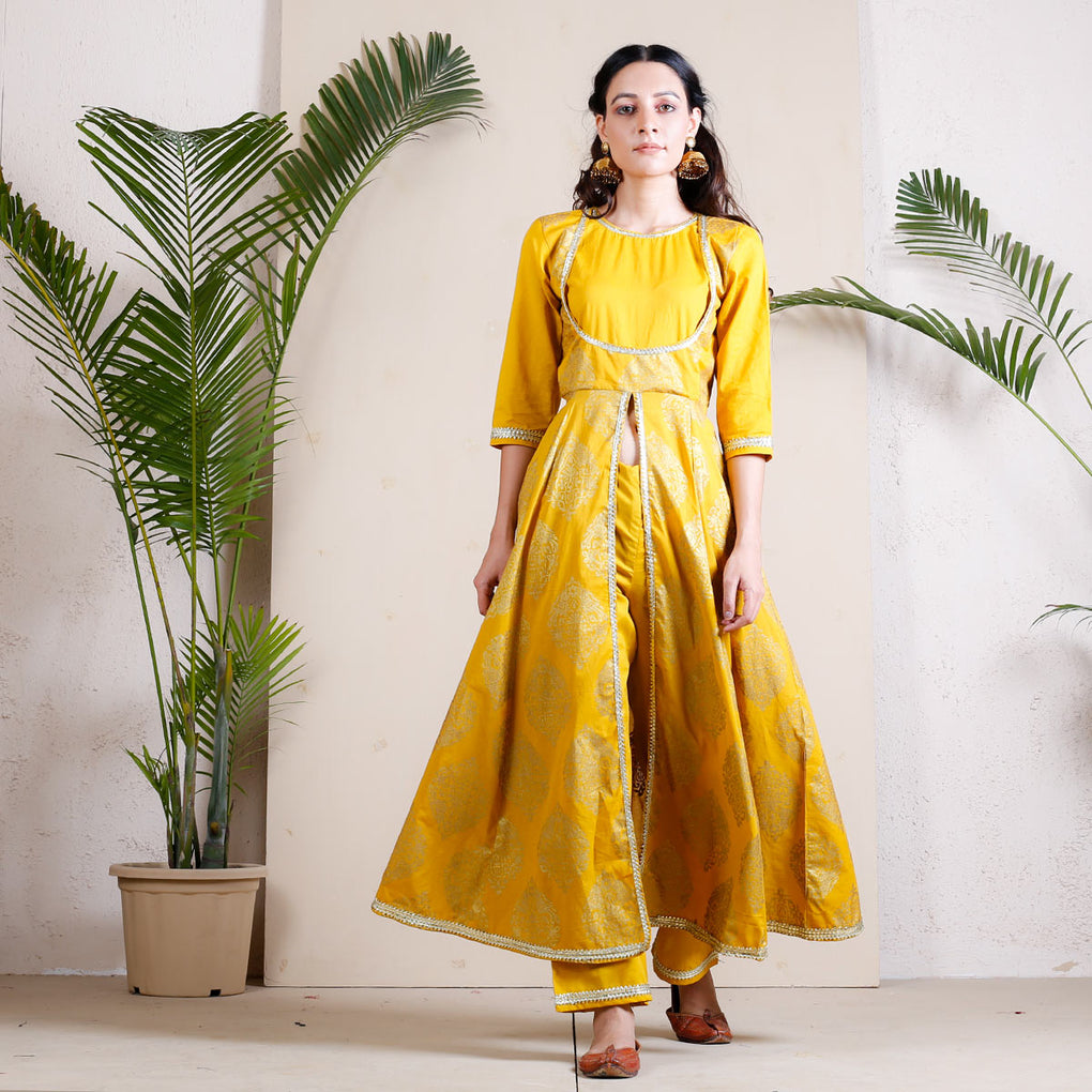 Marigold Front Slit Cotton Kurta Pant Set with Gota Detail