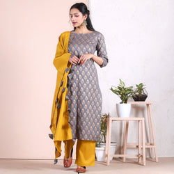 Grey Floral Gold Salwar Kurta Set & Yellow Odhna