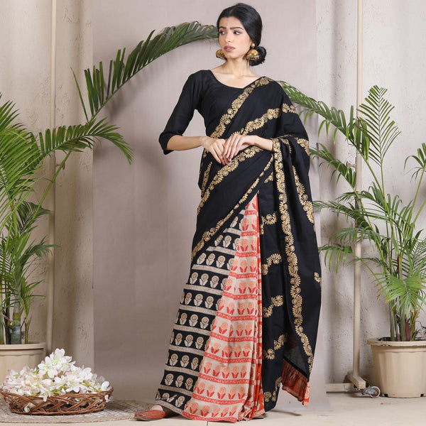 Black Beige & Rust Floral Half & Half Saree with Pallu Frills