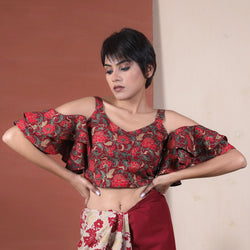 Maroon Floral Jaal Cold Shoulder Ruffle Blouse