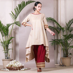 Beige Gold Printed Asymmetric Cotton Kurta with Palazzo