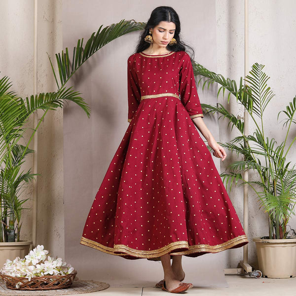 Wine Maroon Polka Kalidaar Dress with Gota Details
